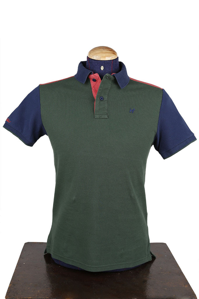 Green Contrast Casual Fit Polo T-Shirt