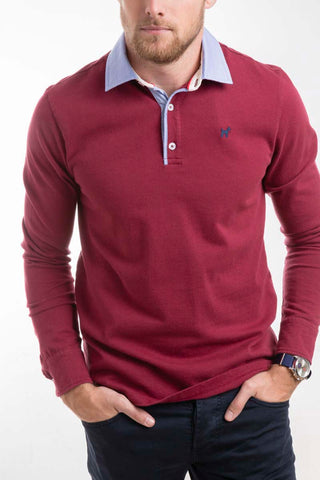 Burnt Red Long Sleeve Polo Shirt
