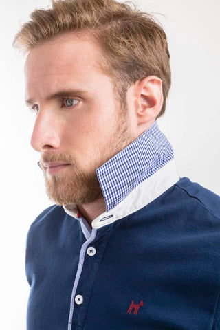 Blue Long Sleeve Polo Shirt -