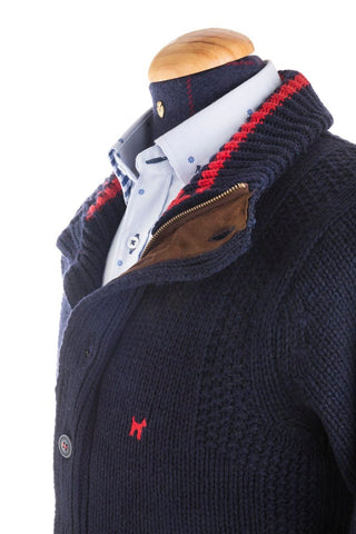 Navy And Suede Outdoors Cardigan - PRE 0003