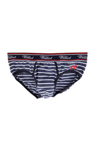 Sea Blue Striped Men's Briefs SLI 001