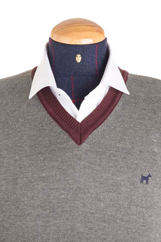 Wool Grey / Red Contrast Jumper