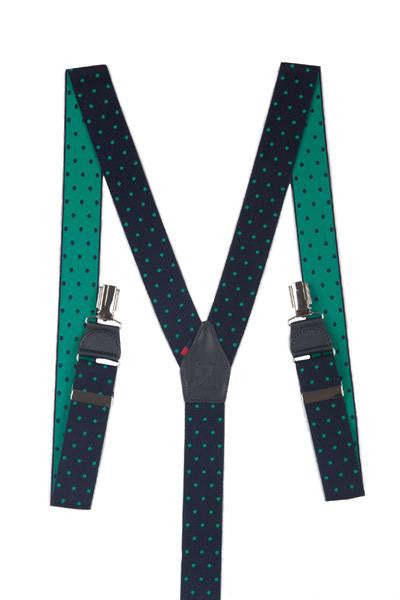 Green and Blue Spots Trouser Braces TIR 0004