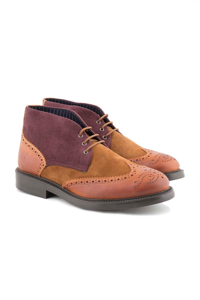 Maroon And Tan Suede Boots