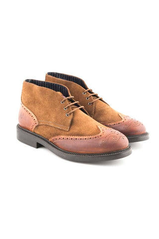 Tobacco Suede And Leather Boots - ZBO 6375