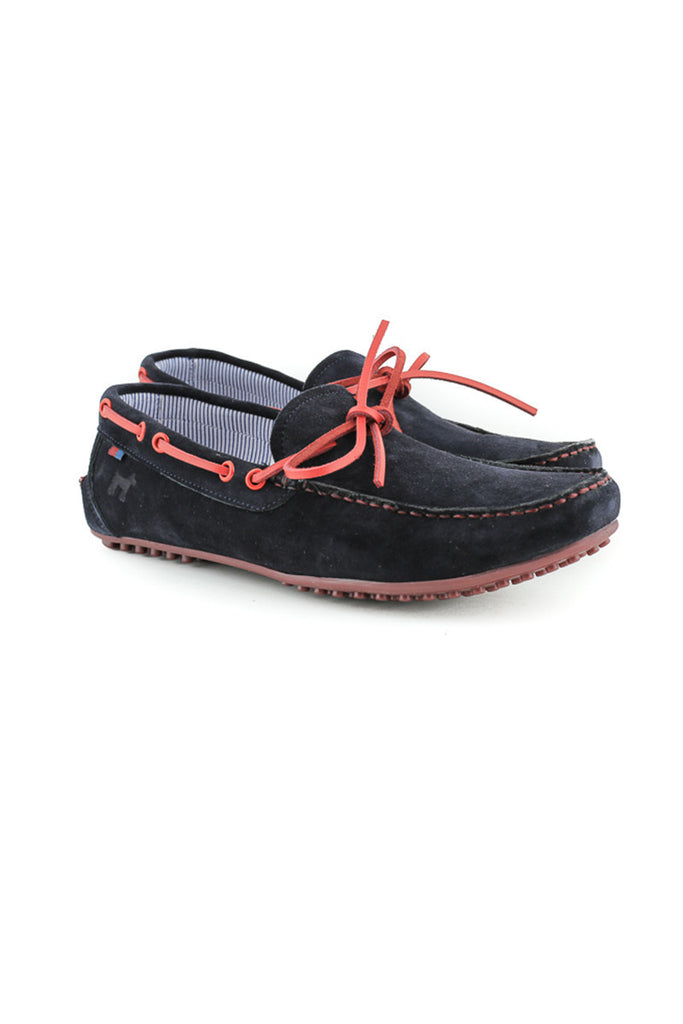 Navy Suede Loafers With Red Trim