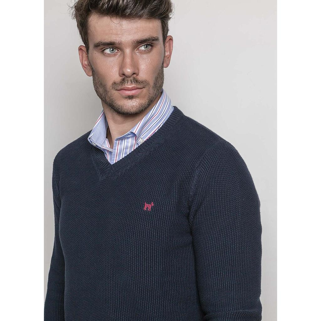 Blue V-neck Navy Jumper