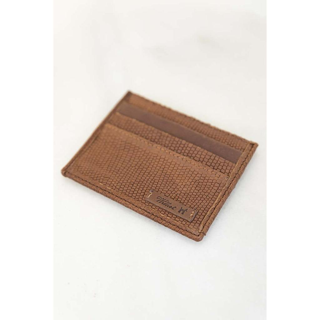 TAN SNAKE PRINT CREDIT CARD CASE