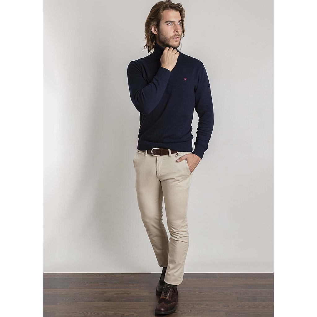 Roll-Neck Jumper in Navy Blue