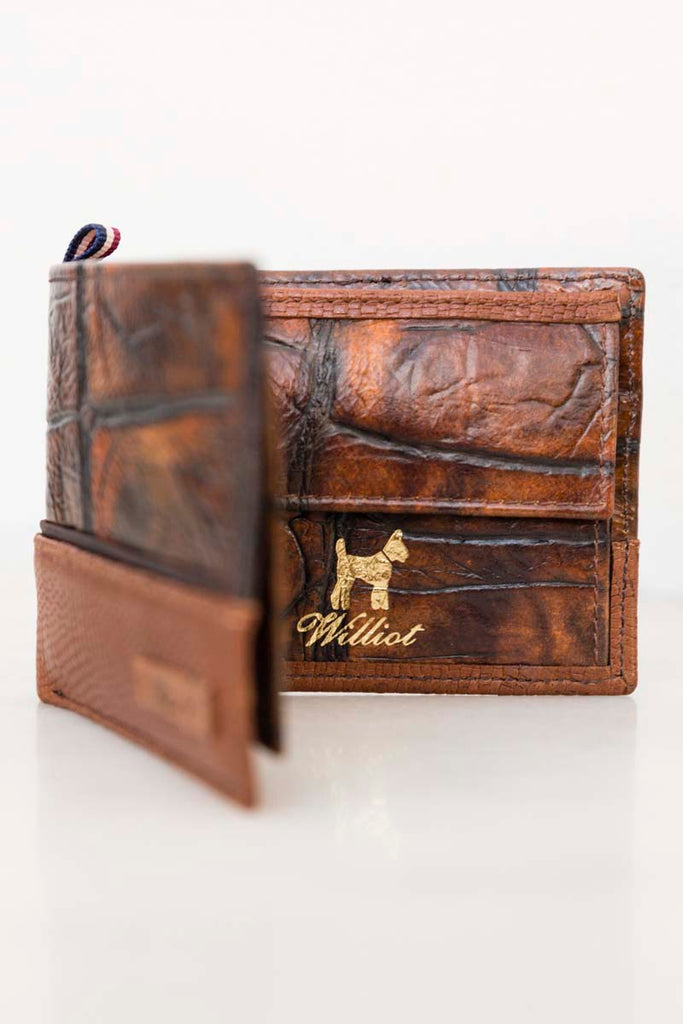Chocloate Bown Croc / Snake Wallet
