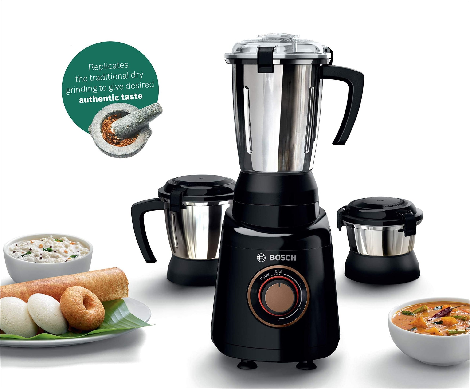 Bosch TrueMixx Bold 600-Watt Mixer Grinder with 3 Jars (Black) - KITCHEN MART