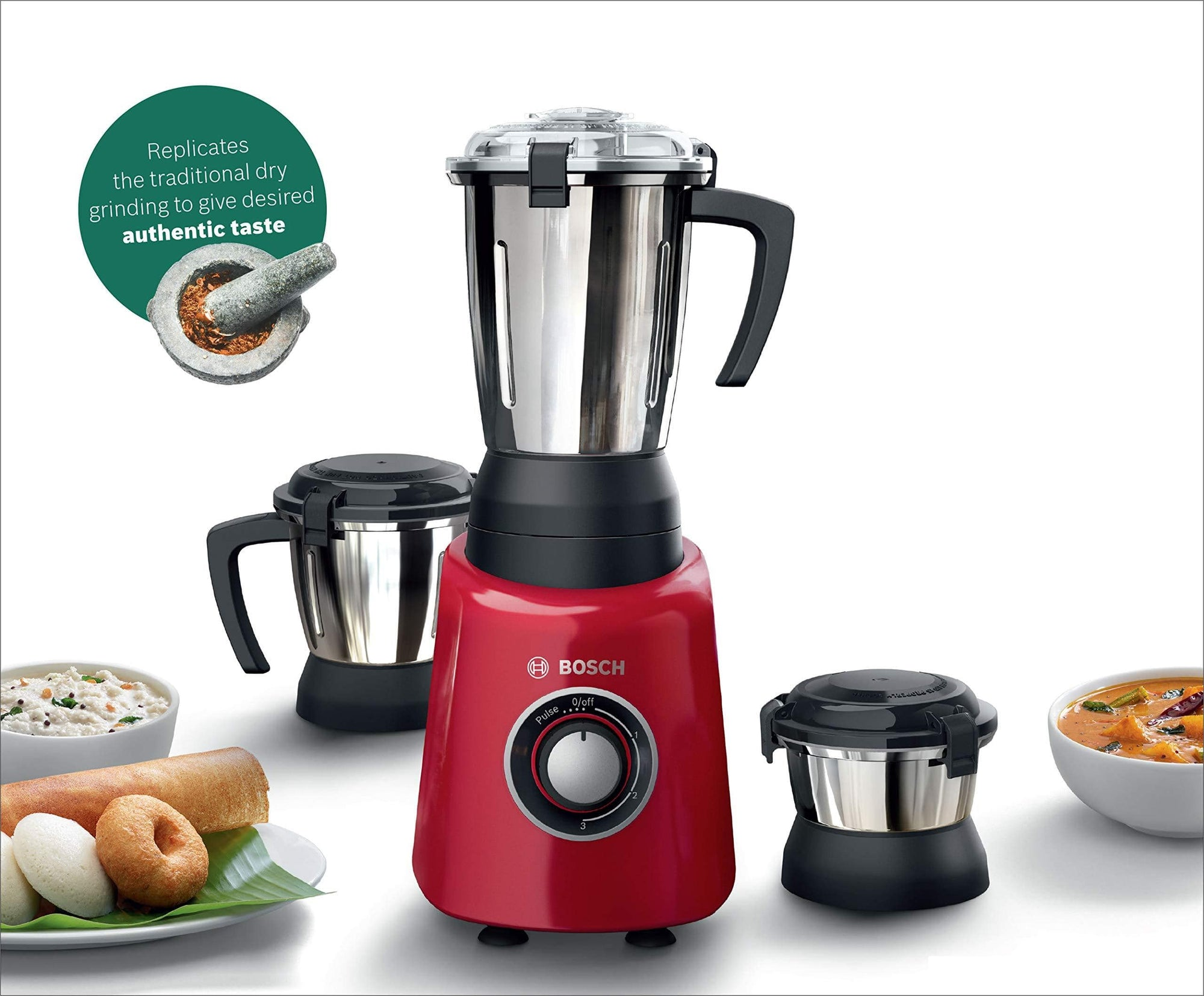 Bosch TrueMixx Radiance 600-Watt Mixer Grinder (Red) - KITCHEN MART