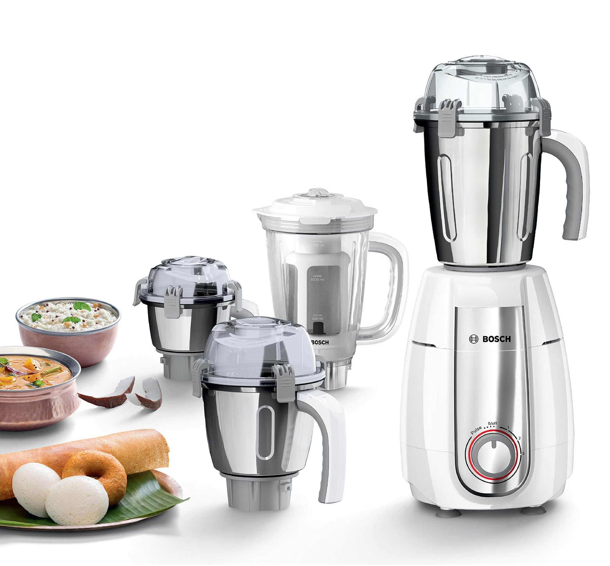 Bosch TrueMixx Style Mixer Grinder 750 Watts - MGM6642WIN, White - KITCHEN MART