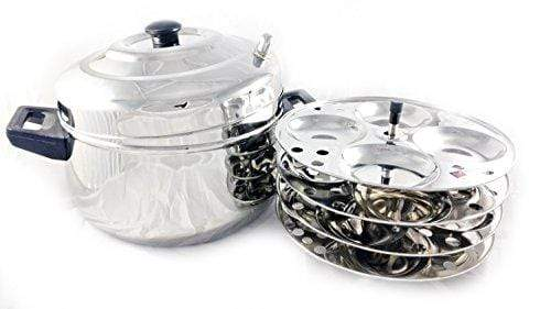 Butterfly Curve 4 Plates Stainless Steel Idly Cooker/Steamer - 16 Idlis - KITCHEN MART
