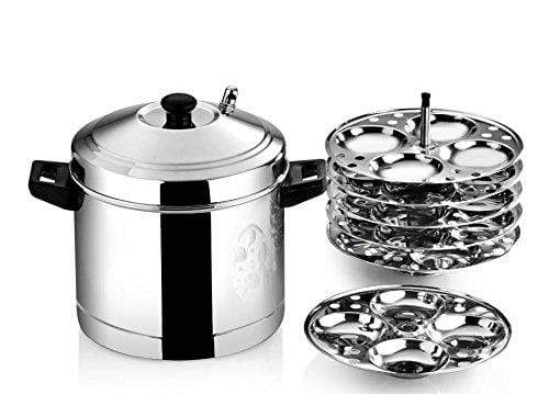 Butterfly Idli Cooker Set with 6 Plates, 8 Piece, Silver - KITCHEN MART