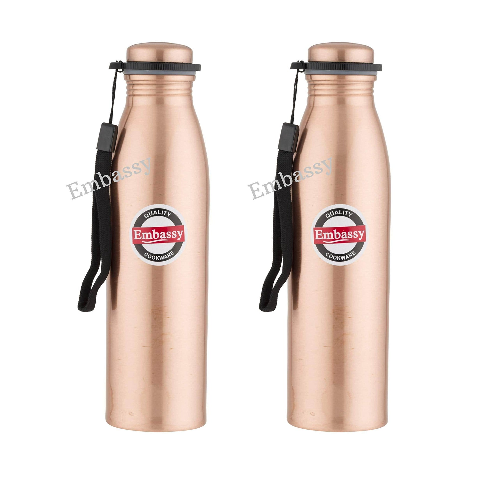 Embassy Premium Copper Water Bottle, Plain, 600 ml, Pack of 2 - Leak-Proof, Jointless and Pure Copper - KITCHEN MART