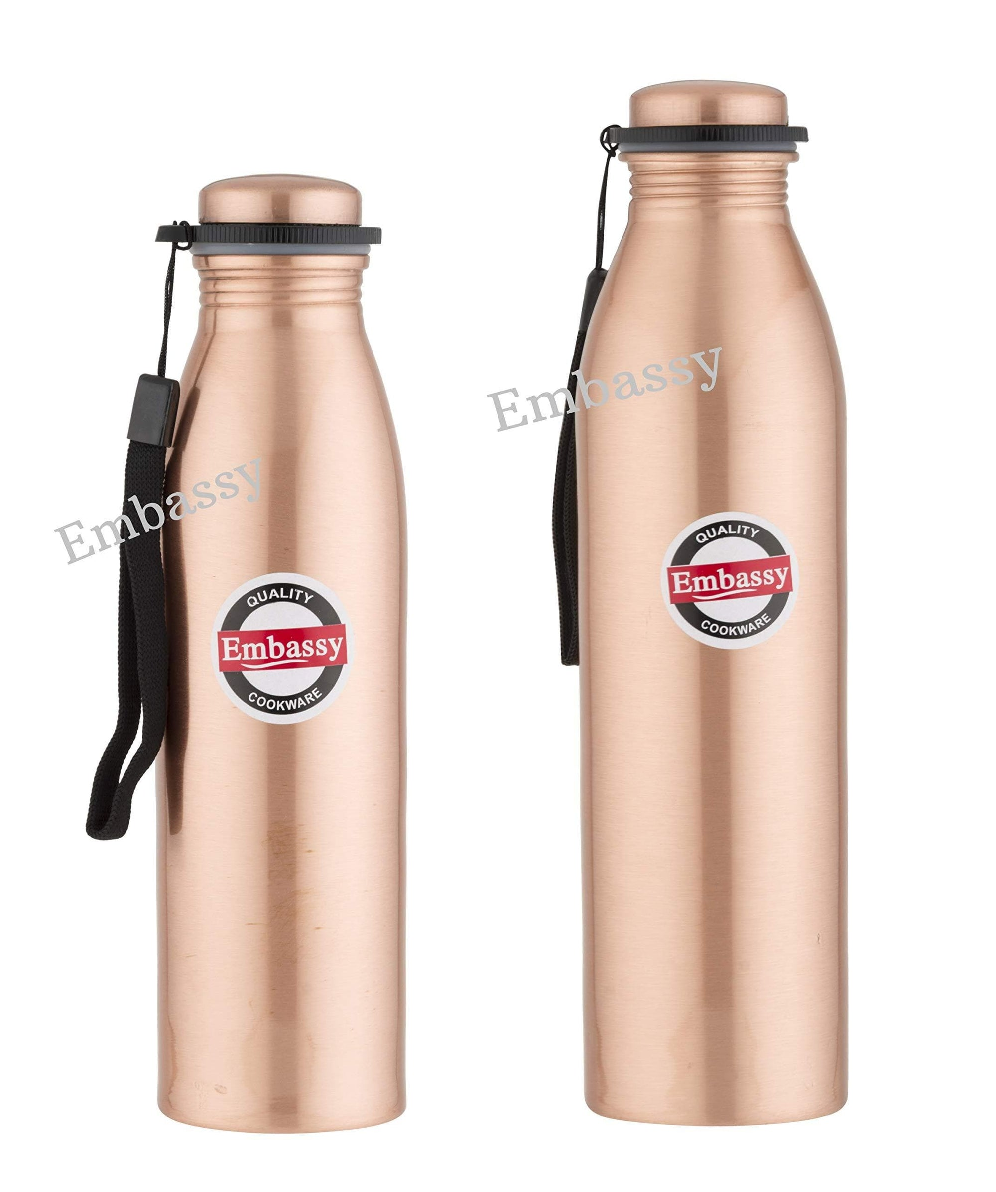 Embassy Premium Copper Water Bottle, Plain, Set of 2, 600 ml and 1000 ml - Leak-Proof, Jointless and Pure Copper - KITCHEN MART