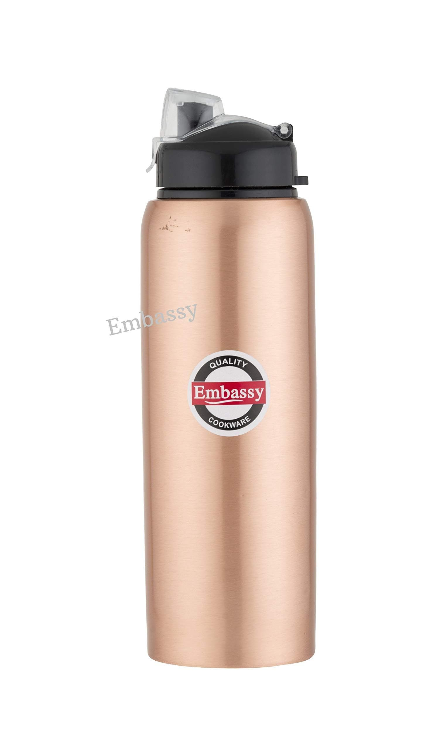 Embassy Premium Copper Water Bottle, Sipper, 600 ml, Pack of 1 - Leak-Proof, Jointless and Pure Copper - KITCHEN MART