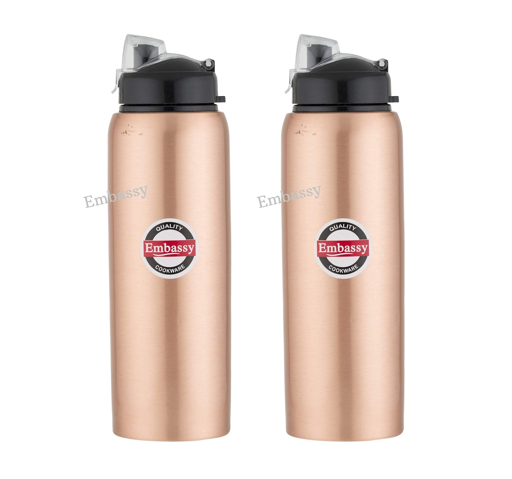 Embassy Premium Copper Water Bottle, Sipper, 600 ml, Pack of 2 - Leak-Proof, Jointless and Pure Copper - KITCHEN MART
