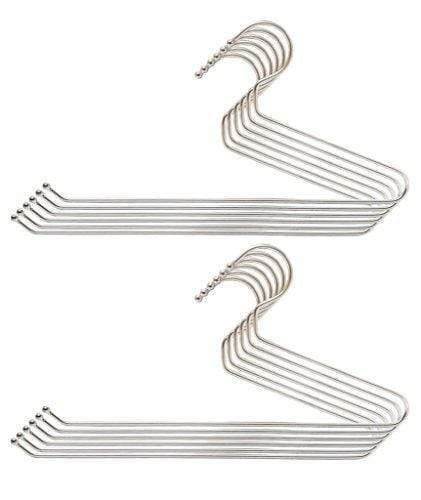 Embassy Stainless Steel Trouser/Saree Hangers, 36x19 cms, Pack of 12 - KITCHEN MART