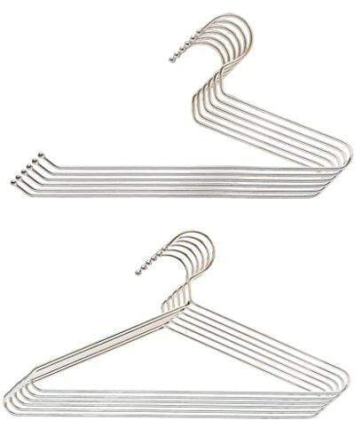 Embassy Stainless Steel Trouser / Saree Hangers (6 Pcs.) and Shirt Hangers (6 Pcs.), 36x19 cms & 38x19 cms - KITCHEN MART