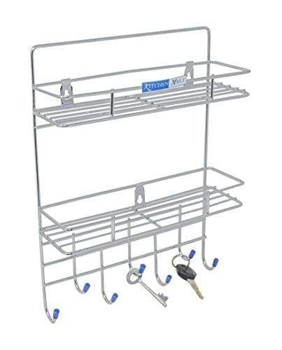 Kitchen Mart Key holder / Laddle Holder with 2-Tier Rack, Wall Mount, 7-Pins Stainless Steel (Pack of 1) - KITCHEN MART
