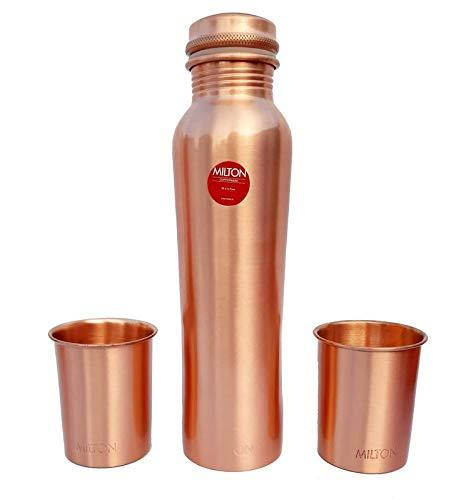 Milton Copper Water Bottle with Glass Gift Set (1000 ml Bottle and 250 ml Glass) - KITCHEN MART