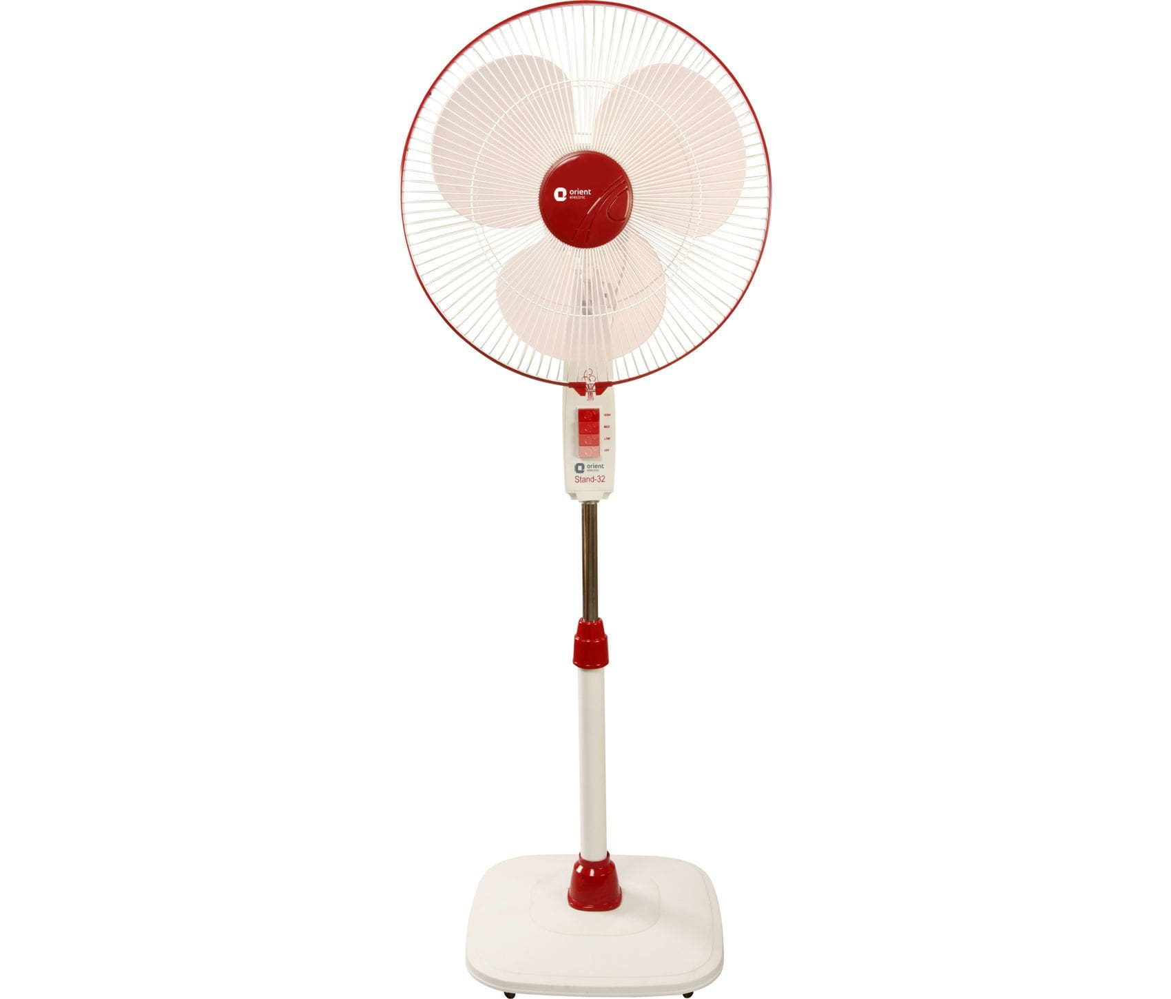 Orient Electric Pedestal Fan Stand-32 with Easy Wheels, 400mm (Red) - KITCHEN MART