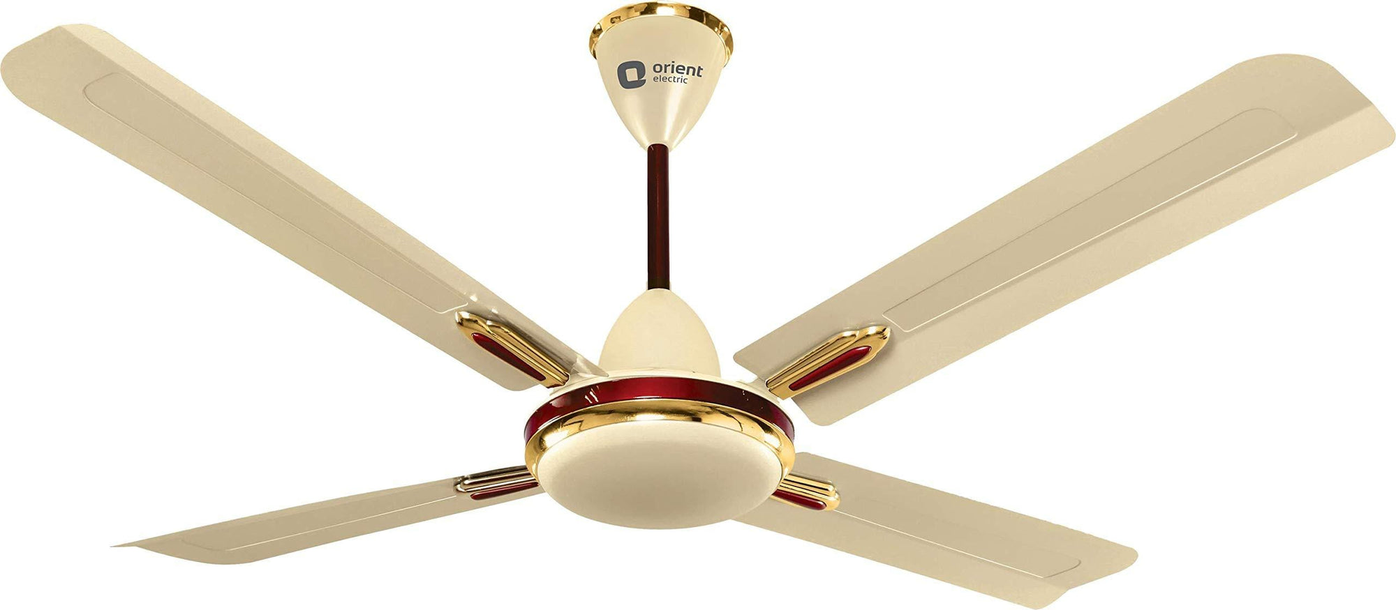 Orient Electric Quadro Ornamental 1200mm Ceiling Fan (Metallic Ivory/Cherry) - KITCHEN MART