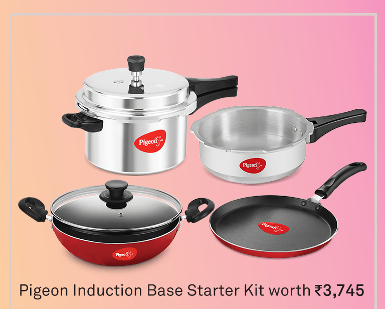 Pigeon 2020 Combo Offers - Induction Base 4-in-1 Starter Kit - KITCHEN MART