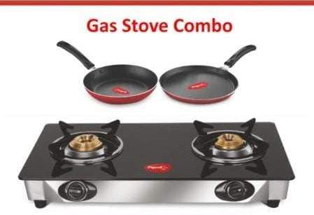 Pigeon 2020 Combo Offers - Pigeon Ayush Glasstop 2 Burners + Duo Pack of Tawa 250 mm & FryPan 240mm - KITCHEN MART