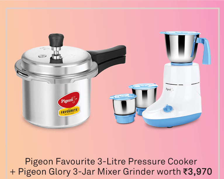 Pigeon 2020 Combo Offers - Pigeon Glory Mixer Grinder 550watts with Aluminium Pressure cooker 3 Liters - KITCHEN MART