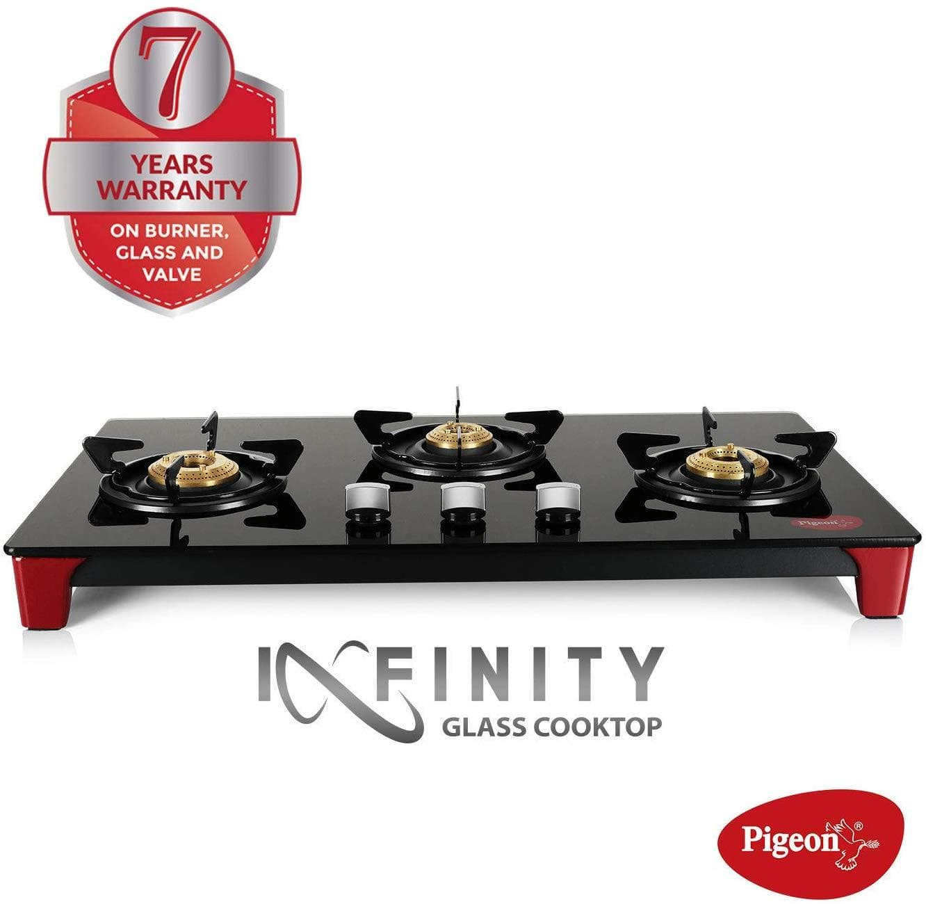 Pigeon by Stovekraft Infinity - 3 Burner Glass Top LPG Stove - KITCHEN MART