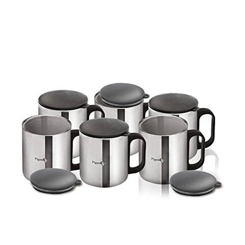 Pigeon - Stainless Steel Coffee Cup Set of 6 (With Lid) - KITCHEN MART