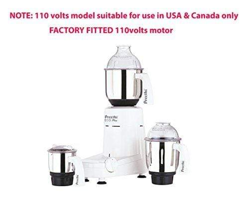 Preethi Eco Plus 110 Volts Mixer Grinder (For Use In Usa & Canada Only),White - KITCHEN MART
