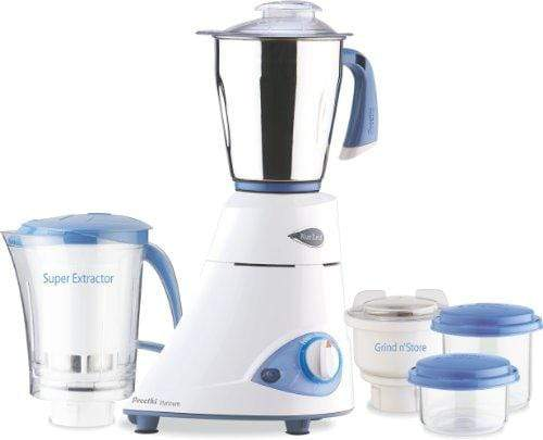 Preethi Platinum MG-153 550-Watt Mixer Grinder (White/Blue) 110 volts for use in USA and canada only - KITCHEN MART