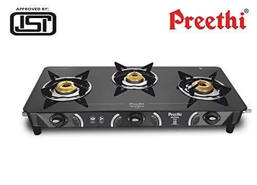 Preethi Zeal Glass 3 Burner Gas Stove (ISI Approved) - KITCHEN MART