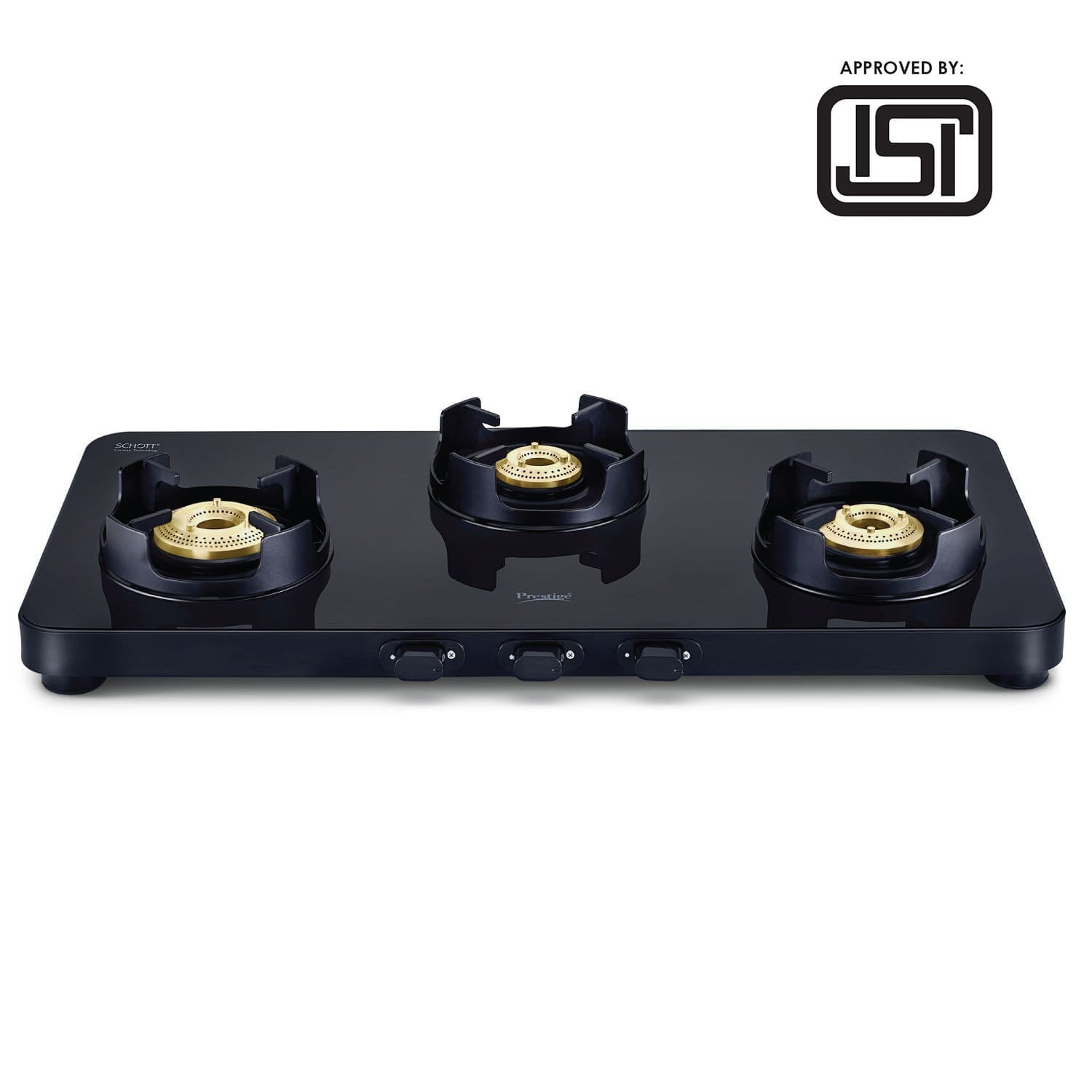Prestige Edge 3 Burner Glass Gas Stove PEBS 03, Black (ISI Approved) with SCHOTT Glass - KITCHEN MART