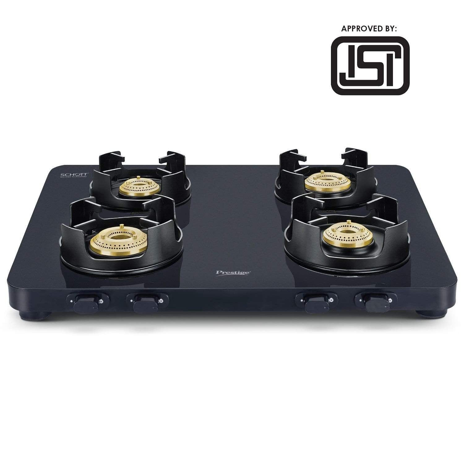 Prestige Edge 4 Burner Glass Gas Stove PEBS 04, Black(ISI Approved) with SCHOTT GLASS - KITCHEN MART