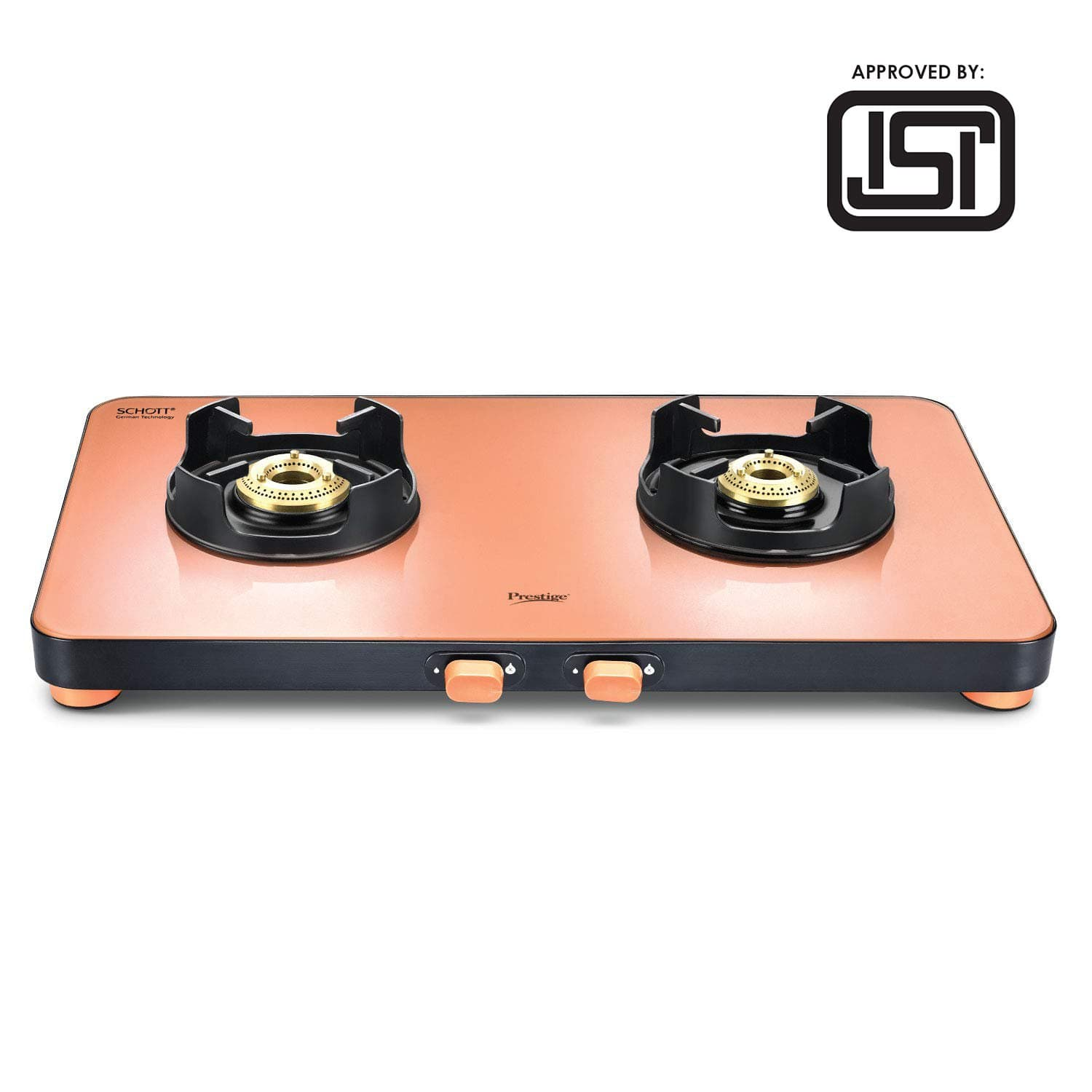 Prestige Edge Schott Glass 2 Burner Gas Stove, Pastel (ISI Approved) PEPS02 - KITCHEN MART