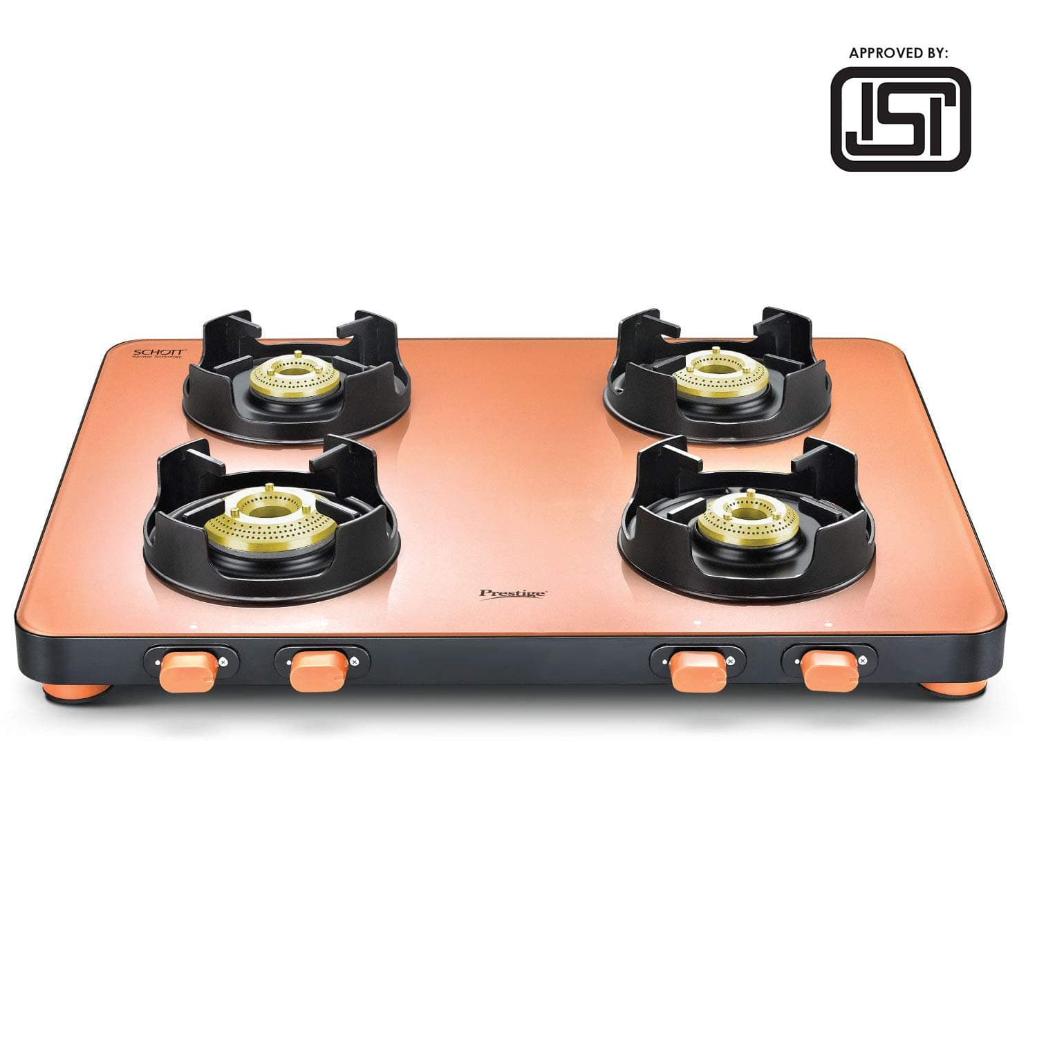 Prestige Edge Schott Glass 4 Burner Gas Stove, Pastel (ISI Approved) PEPS04 - KITCHEN MART