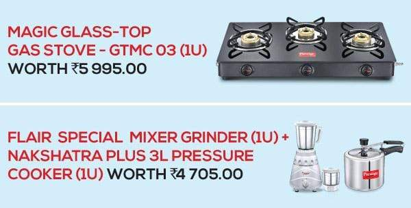 Prestige Magic Glass Top GTMC 03, Gas Stove  (3 Burners) + Flair MIxer Grinder  + Popular 3 Ltr Pressure cooker - KITCHEN MART