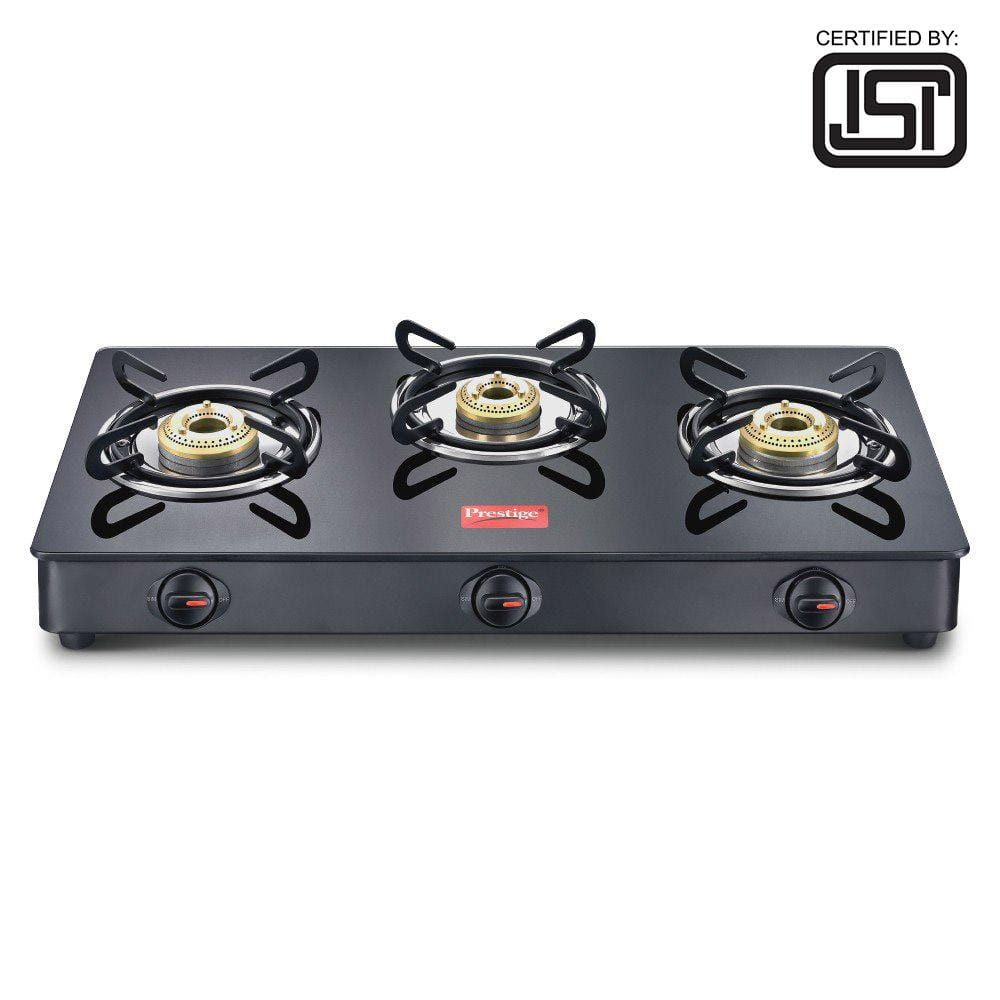 Prestige Magic Glass Top GTMC 03, Manual Gas Stove  (3 Burners), ISI Certified - KITCHEN MART