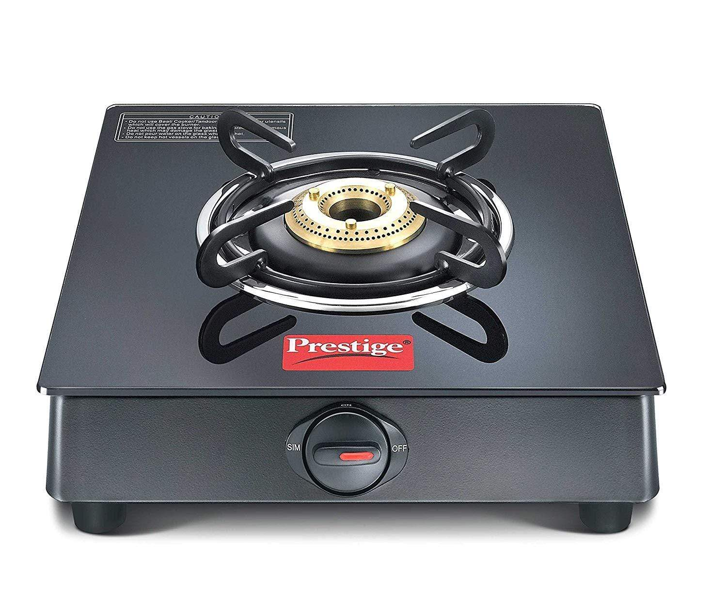Prestige Marvel Plus Glass 1 Burner Gas Stove (Black) (ISI Approved) - KITCHEN MART