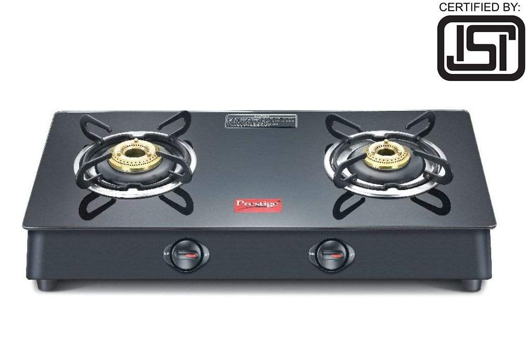 Prestige Marvel Plus Glass 2 Burner Gas Stove (Black) (ISI Certified) - KITCHEN MART