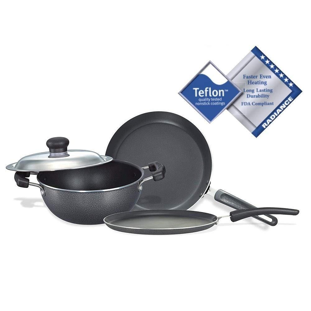 Prestige Omega Select Plus Non-Stick BYK Set, 3-Pieces, Gas-stove compatible only - KITCHEN MART