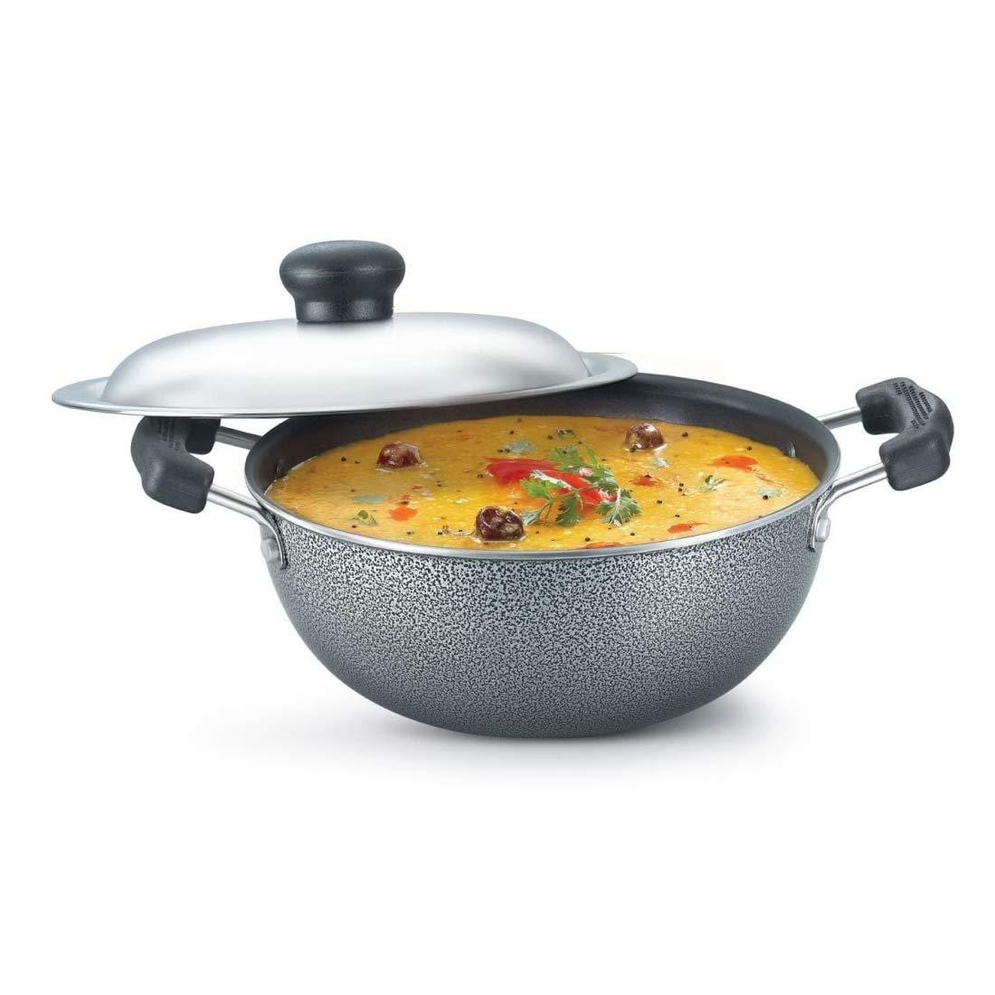Prestige Omega Select Plus Non-Stick Flat Base Kadai with Lid(Grey) 200 mm (2.2 Litre) 8901365307303