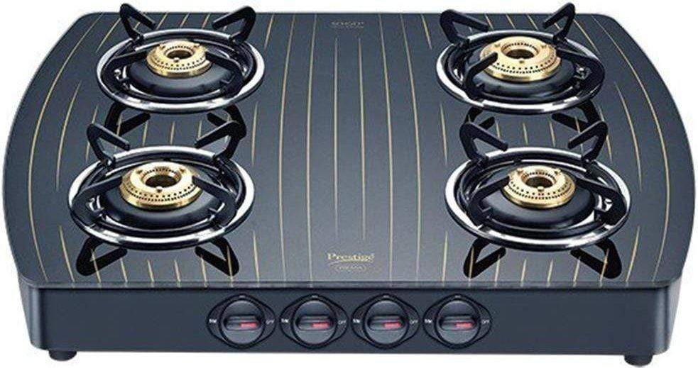 Prestige Premia Schott Gold Designer Series GlassTop, 4 Burner Gas Stove, Black (GTS 04L Gold) - KITCHEN MART