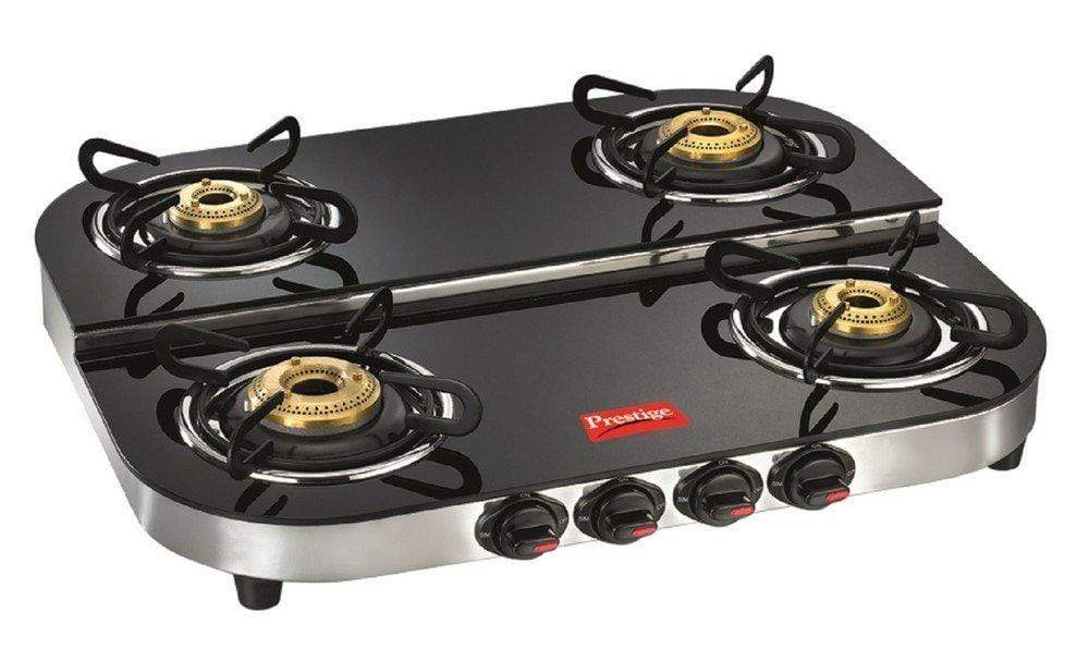 Prestige Royale Plus Schott Duplex Glass 4 Burner Gas Stove (DGT 04 SS) - KITCHEN MART