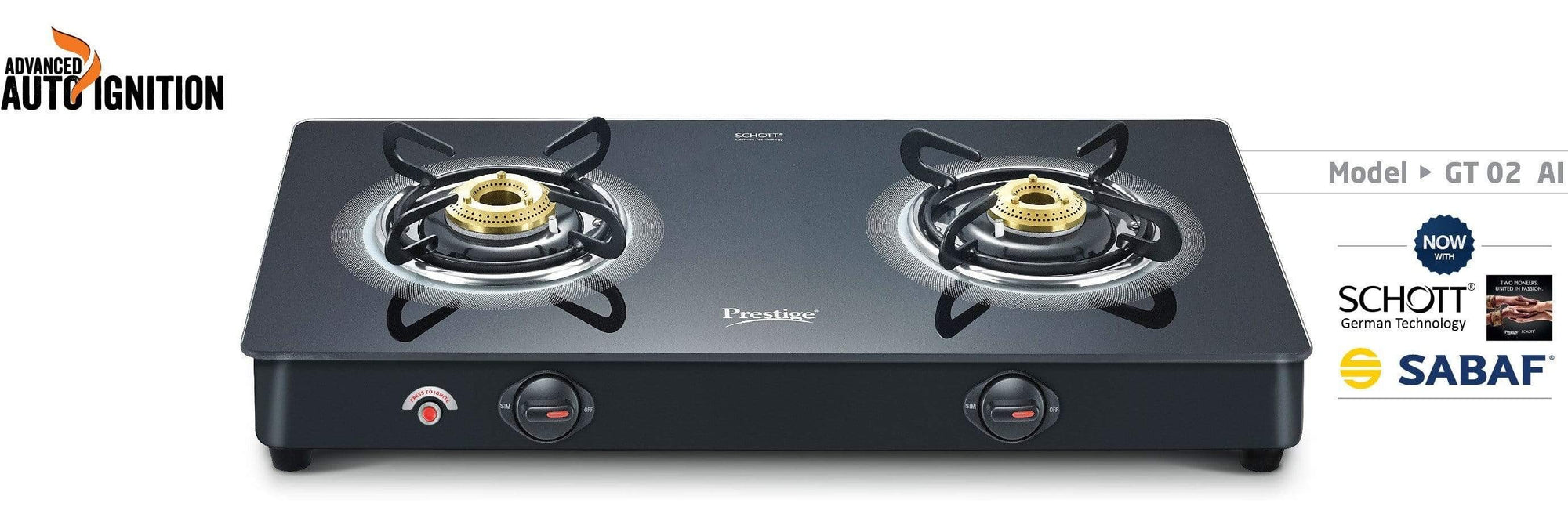 Prestige Royale Plus Schott Glass 2 Burner Gas Stove, Auto Ignition - KITCHEN MART